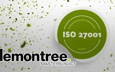 Lemontree ISO27001 gecertificeerd op dienstverlening